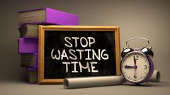Stop Wasting Time - Motivational Quote on Chalkboard - stock illustration