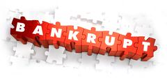 Bankrupt - White Word on Red Puzzles Stock Illustration