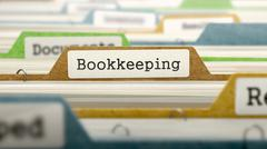 File Folder Labeled as Bookkeeping - stock illustration