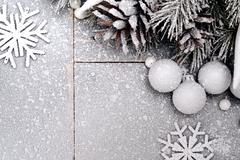 Snowy Christmas Background with a Snowflakes Stock Photos