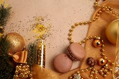Christmas Balls in the Composition in Golden Colors - stock photo