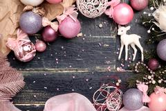 Christmas Composition in Pink Stock Photos