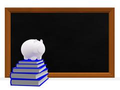 Black Board Books and Savings Piggy Bank - stock illustration