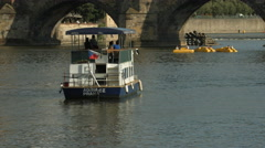 Stock Video Footage of Adria riverboat floating on Vltava River, Prague