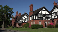 Arts and Crafts architecture, houses in Port Sunlight, Wirral, England Stock Footage