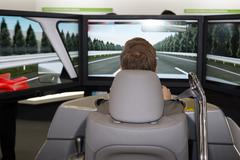 Stock Photo of Man in a car simulator in a congress for safety