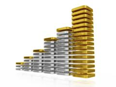 Gold and Silver Blocks Business Growth Bar Chart - stock illustration