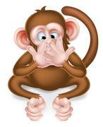 Speak No Evil Cartoon Wise Monkey - stock illustration