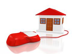 House Model and Computer Mouse Stock Illustration