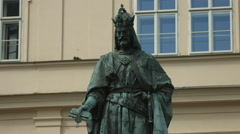 Statue of Charles IV - the Holy Roman Emperor and King of Bohemia - in Prague - stock footage