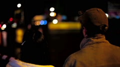Young Couple Watching Car Drifting At Night Stock Footage