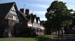 Arts and Crafts architecture, houses in Port Sunlight, Wirral, England - stock footage