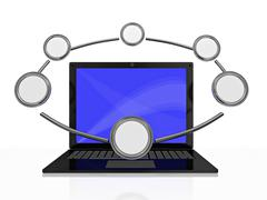 Laptop and Circle Information Loop Stock Illustration