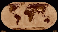 Animated world map in the Robinson projection. Luminance blending. Stock Footage
