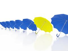 Stock Illustration of One Yellow Umbrella in Row of Blue Umbrellas