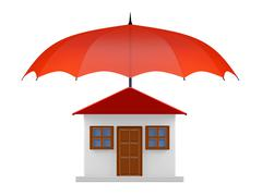 Protected House under Red Umbrella - stock illustration