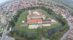 Amazing aerial view of Fagaras Fortress and its surroundings Stock Footage