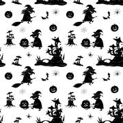 Seamless Pattern, Halloween Symbols - stock illustration
