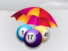 Stock Illustration of Winter bingo balls under umbrella
