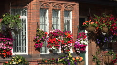 Hanging baskets, Arts and Crafts Houses in Port Sunlight, Wirral, England Stock Footage