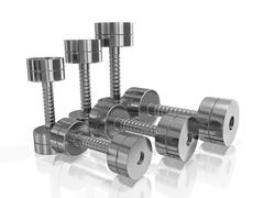 Row of Pairs of Steel Dumbbell in Different Size Stock Illustration