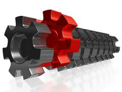 Stock Illustration of Row of Steel Gears with One Red