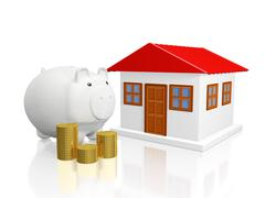 Savings Piggy Bank Gold Coins and House Stock Illustration