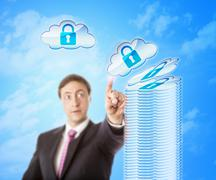 Stacking Cloud Objects In Secure Storage - stock photo