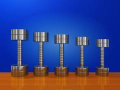 Row of Exercise Steel Dumbbells on Wood Plank - stock illustration