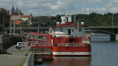 View of Botel Albatros anchored on the riverside, Prague Stock Footage