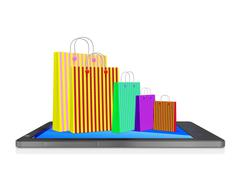 Shopping Bags on Touch Screen Smart phone Stock Illustration