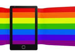 Smart phone with a Stretched Colorful Striped Screen Piirros