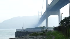 Hong Kong Haze Tsing Ma Bridge. Stock Footage