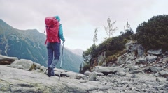 Hiker woman standing with hands up on top. Stabilized Slow-mo. Success concept. Stock Footage