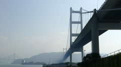 Hong Kong Tsing Ma Bridge Stock Footage