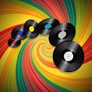 Vinyl records over multicolor vintage swirl background Stock Illustration