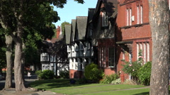 Arts and Crafts style architecture in Port Sunlight, Wirral, England - stock footage