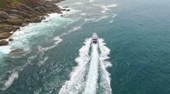 Boat Charter with wake around Granite Island Australia - stock footage