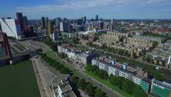 Aerial Rotterdam fly towards city center Stock Footage
