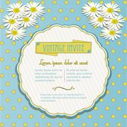 Vintage invite with chamomile flowers Stock Illustration