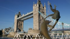 Stock Video Footage of Static shot of Tower Bridge on a sunny morning.