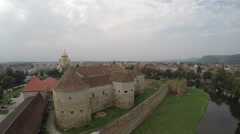 Aerial view of Fagaras Fortress with its brick walls - stock footage