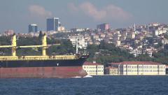 A freighter passing through the Bosphorus Strait in Istanbul Turkey (Editorial) Arkistovideo