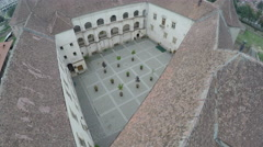 Amazing aerial view of the Fagaras Fortress's square Stock Footage