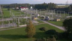 Aerial - Electrical transformer station - stock footage