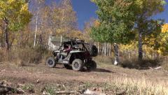 4x4 recreation RZR drives from mountain cabin autumn RZR 4K Stock Footage