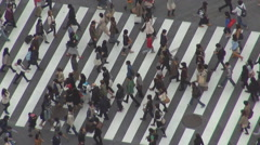 Aerial view people commute cross avenue zebra sign Tokyo metropolis asian life Stock Footage
