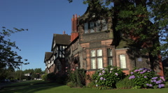 Stock Video Footage of Bridge Cottage, Arts and Crafts architecture, Port Sunlight, Wirral, England