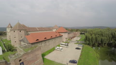 Aerial view of the old Fagaras Fortress Stock Footage