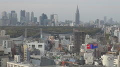 Famous metropolis panorama Tokyo crowded downtown architecture tall tower build Stock Footage